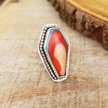 Surfite Coffin Ring in Sterling Silver Size 7 3/4