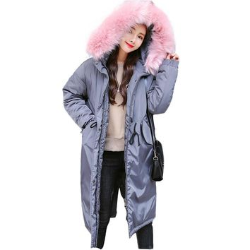 Military Hooded Large Faux Fur Collar Long Parka Cotton Padded Womens Winter Jackets Casual Warm Coat Women Outerwear TT3511