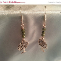 Handmade Earrings of Green Marbles & Silver Trees!  Silver Dangling Earrings/Women's Fashion Accessories/Jewelry