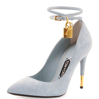 Suede Ankle-Lock Pump, Cloud Blue - Tom Ford - Cloud blue (37.0B/7.0B)