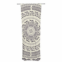 "Famenxt ""Swadesi Soft Boho Mandala"" Beige Illustration Decorative Sheer Curtain"