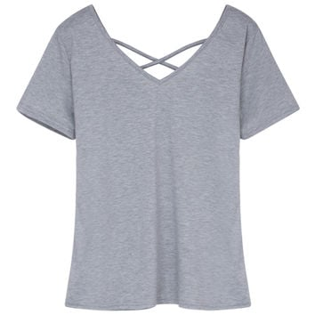 Gray V-neck Cross Strap Short Sleeve T-shirt