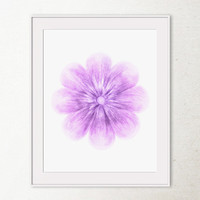 Purple Flower art print, Digital printable art Spring flower wall art, Baby purple art, Printable wall print, Bedroom decor, Girls room art