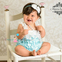 Tiffany Blue Chevron Petti Romper, wedding flower girls, baby girls Rompers, Photo props, Baby outfit, toddler outfit, birthday outfit, baby