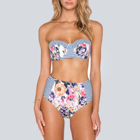 Retro High Waist Bathing Suit Swimsuits Print Push Up Bikini