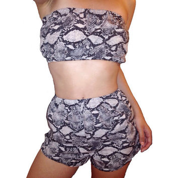 Gray Snake Print Twin Set