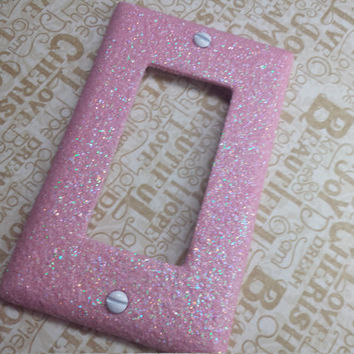 Cute Sparkly Light Bubblegum Pink Iridescent Opal Glitter Bling Light Switch Plates, Rockers, & Covers / Wall Lighting Decor
