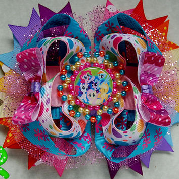 My little pony hair bow . Pony Boutique Bow , Rainbow Dash Layered Bow , Stacked Bow