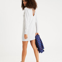 AEO Tie-Back Sweatshirt Dress, Heather Gray