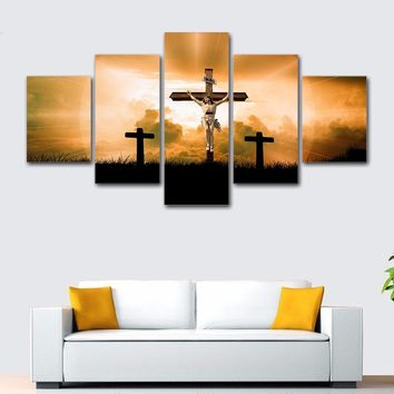 5 Pieces God Jesus Cross Canvas Print Wall Art Panel Picture Modular