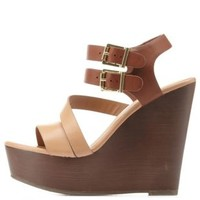 Tan Combo Strappy Color Block Platform Wedges by Charlotte Russe