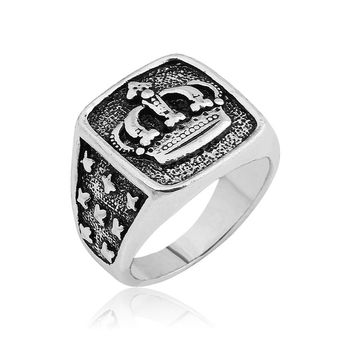 New Arrival King Queen Crown Signet Ring Vintage Carving Stars Punk For Men Women Party Jewelry Gifts Drop Shipping