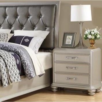 3- Drawer Wooden Night Stand With Bun feet  Silver