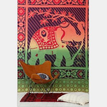 ONETOW Elephant Tapestry Colored Printed Decorative Mandala Tapestry Indian Boho Wall Carpet 130cmx150cm 153cmx203cm