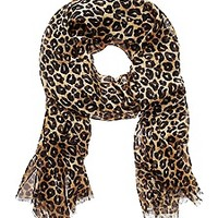 Cheetah Print Silk Oblong Scarf