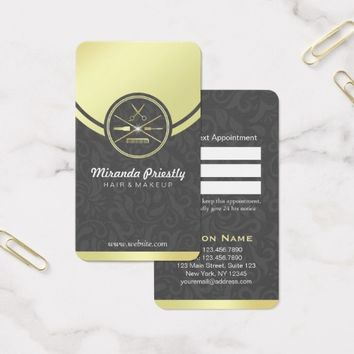 Beauty Salon Black & Gold Makeup Tools Appointment Business Card