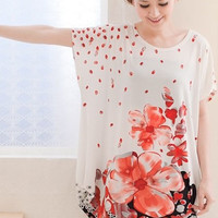 New Style Chinese Style Floweriness Ladies T-shirts : Yoco-fashion.com