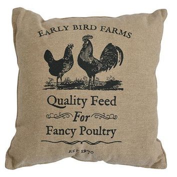 """Early Bird Farms Chicken & Rooster 10"""" Pillow"""