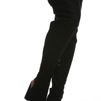 Black Faux Suede Chunky Cut Out Thigh High Boots @ Cicihot Boots Catalog:women's winter boots,leather thigh high boots,black platform knee high boots,over the knee boots,Go Go boots,cowgirl boots,gladiator boots,womens dress boots,skirt boots.