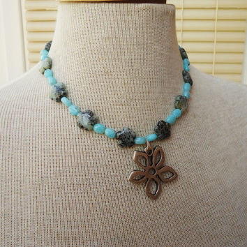 African Turquoise and Larimar Necklace, Trquoise and Larimar Pendant, Flower