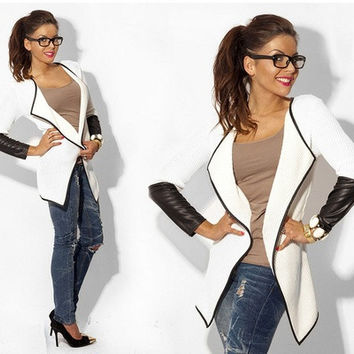 New Women Casual Synthetic Leather Splicing Cardigan Long Coat [8833535884]
