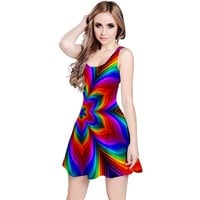 Rainbow Flower Reversible Sleeveless Dress