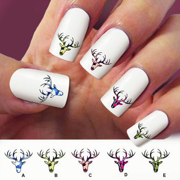 60 camo deer, nail art, 60 nail decals, Nail Art design, Water Slide nail Decals ,#DE007