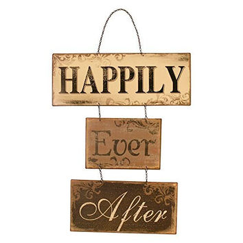 Happily Ever After Vintage Metal Hanging Sign 16-in