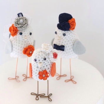 wedding cake topper with a baby, Wedding Cake Topper with a child, Two Love birds and a baby set