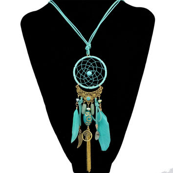 Fashion Dream Catcher Necklace Alloy Wings Charm Feather Leather Resin Jewelry