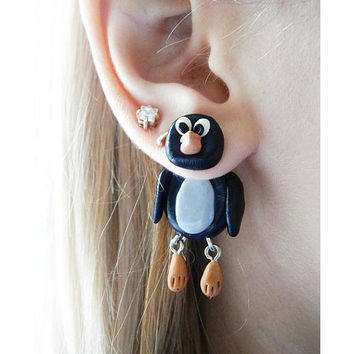 Pair of Real Custom Gauges Plugs 0g, 00g, 7/16, 1/2, 9/16, 5/8, 3/4, 7/8, 1 inch earrings black penguin, Polymerclay, handmade