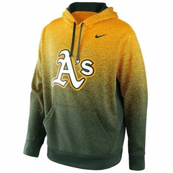 Nike Oakland Athletics Mezzo Fade Performance Hoodie - Green/Gold