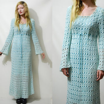 70s Vintage CROCHET Dress Full Lace Scallop Edge Wool Long Flare Bell Sleeves Empire waist Maxi Boho Bohemian Hippie 1970s vtg S M