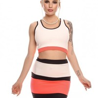 CORAL AND BLACK STRIPED CAUSAL TWO PIECE TOP SKIRT SET OUTFIT