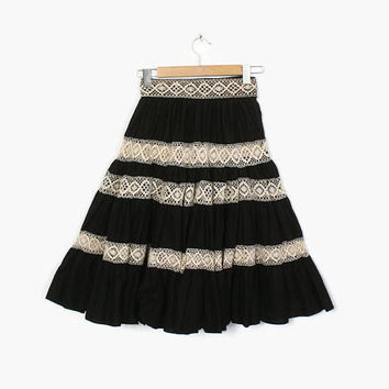 Vintage 50s Peekaboo LACE SKIRT / 1950s Black & Ivory Tiered Full Rockabilly Skirt XS