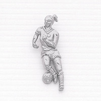 Sterling Silver Female Soccer Player Charm.