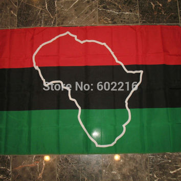Afro American Map African Continent Flag 3FTX 5FT