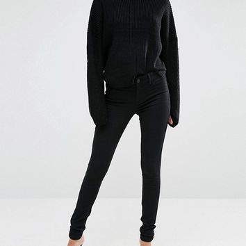 Oasis Black Mid Rise Skinny Jeans at asos.com