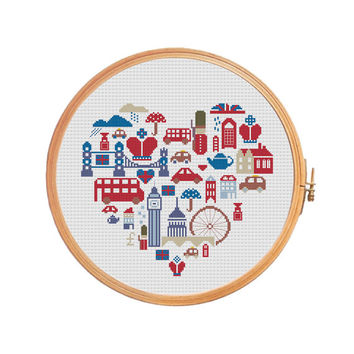 LONDON in sampler Cross stitch pattern