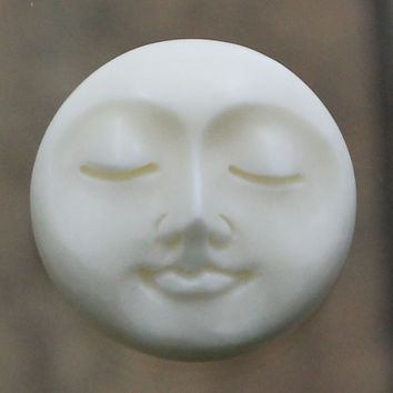 20mm  - Face Cabochon, Carved Bone - Eyes Closed