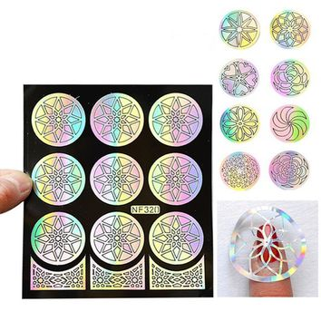 1PCS Flower Nail Art Stickers For Girls Nail Art Design Hollow Stickers Stencil For Nails Stamping Tips Decoration Manicure Tool