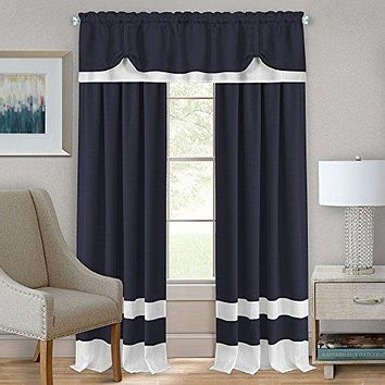 Ben&Jonah Collection Darcy Rod Pocket Window Curtain Panel - 52x84 - Navy/White