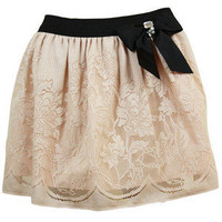 Peach Lace Look Bow Skirt - desireclothing.co.uk - Polyvore