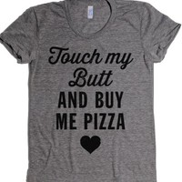 pizza butt-Female Athletic Grey T-Shirt