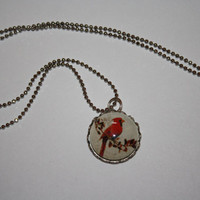 Winter Cardinal Glass Necklace