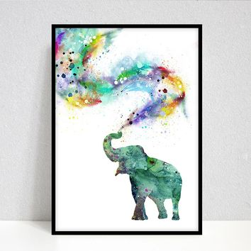Elephant Watercolor Painting Print Elephant Black and White Portrait Elephant Art Print Animal Wall Art Zoo Safari Animals Nursery Decor