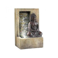 "Elegant Meditation Peaceful Temple Buddah Tabletop Water Fountain 9.5"" LED Light"