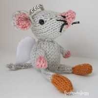 little Angel Mouse hand knitted critter by handmadefuzzy on Zibbet