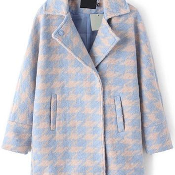 Blue Grey Houndstooth Notched Collar Long Sleeve Woolen Coat
