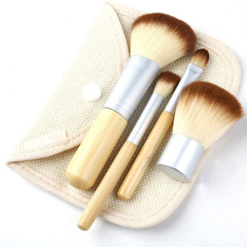 4Pcs Bamboo Makeup Brushes Earth-Friendly Best Foundation Eyeshadow Concealor Application Tools Sets
